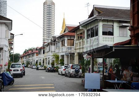 Georgetown/Malaysia - September 2012: Private houses in Georgetown, island Penang, Malaysia.