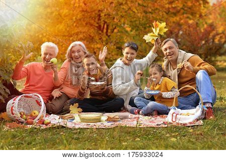 big happy family on picnic in autumn