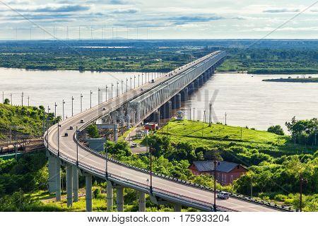 Khabarovsk Bridge Crosses Amur