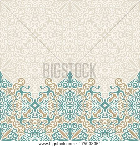 Seamless border raster ornate in Eastern style. Vintage design, place for text. Ornament pattern for wedding invitations, birthday, greeting cards. Traditional islam pastel decor blue and gold