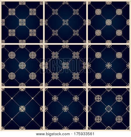 Seamless islamic pattern set. Vintage tile background. raster islamic royal black Oriental design and baroque wallpaper