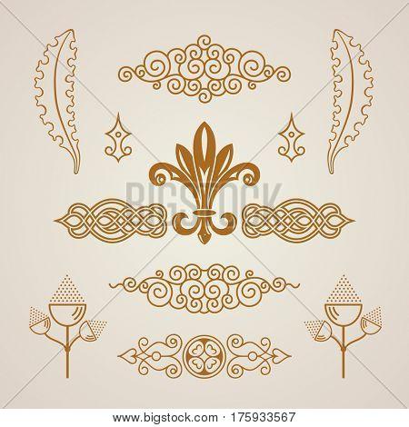 Calligraphic Design vintage elements. raster illustration logo set. Collection royal ornament page decoration. Restaurant, Cafe, Hotel, Heraldic