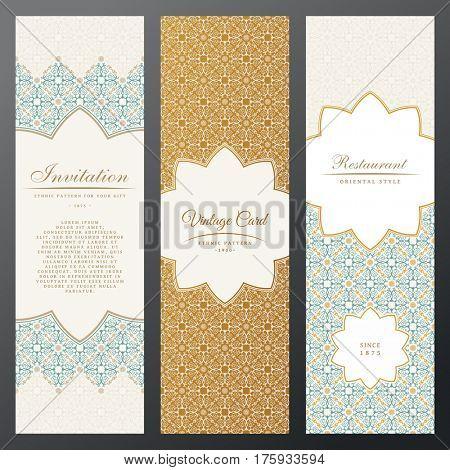 Islam vintage luxury cards. raster set of ornate labels vertical in ethnic design. Gold Eastern floral frame pattern. Template vintage greeting