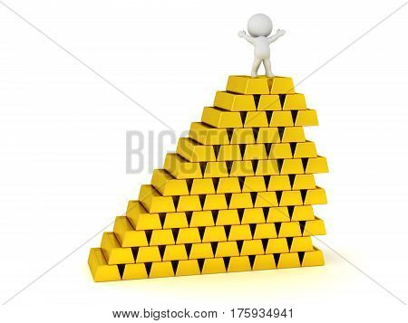 3D character standing on a large stack of gold bars. Isolated on white background.
