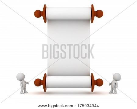 Two 3D characters looking up at a large empty white scroll. Isolated on white background.