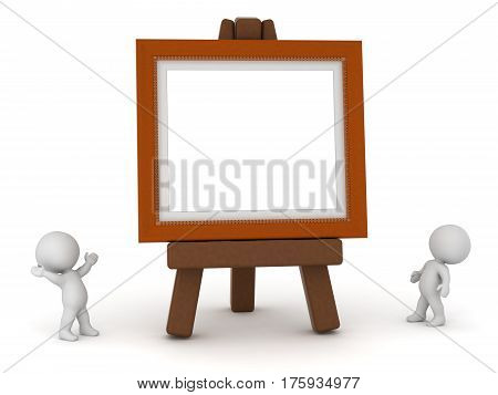 Two 3D characters looking up at a large easel with an empty painting frame. Isolated on white background.