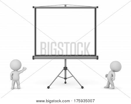 Two 3D characters and a large projector screen. Isolated on white background.