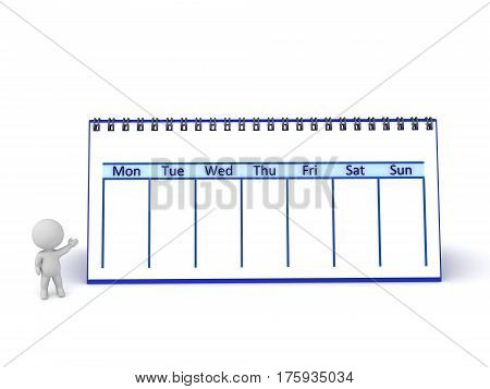 3D character with a large calendar showing one week. Isolated on white background.