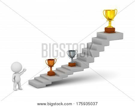 3D character showing a set of stairs with trophies on the steps. Isolated on white background.