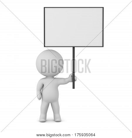 3D character holding up a large empty sign. Isolated on white background.