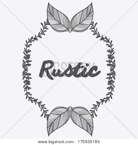 gray rustic emblem leaves icon, vector illustraction design