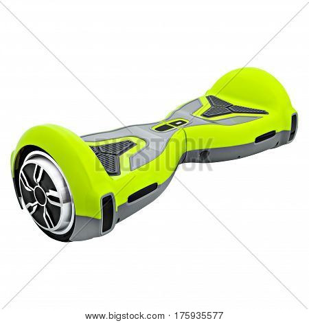 Green hover Board, on a White Background