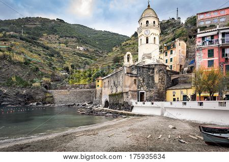 VERNAZZA, ITALY - DECEMBER 2016: Mountain architecture of Vernazza town at ligurian coast in Italy
