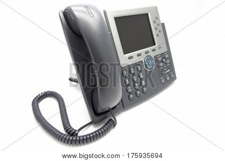 IP Phone on white isolated background (View from the side)