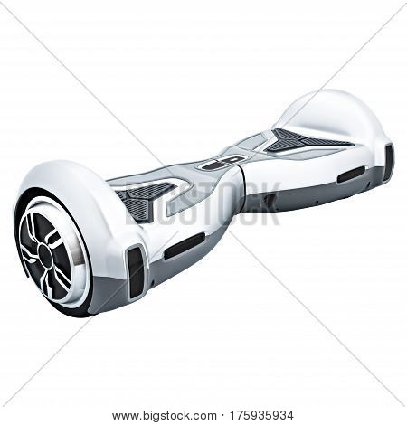 Silver hover board, on a White Background