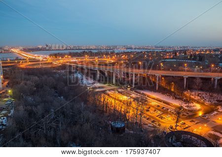 Voronezh highway. Transport interchange with overpass and bridge, Known as road to nowhere