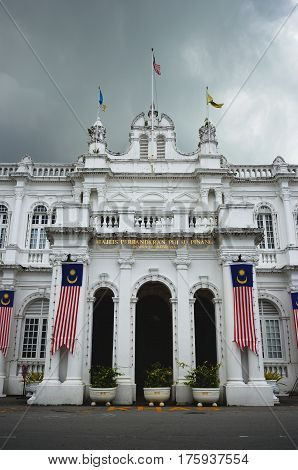 Georgetown/Malaysia - September 2012: Buildings in colonial style in Georgetown, Penang, Malaysia.