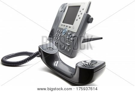 IP Phone with the receiever on the front white isolated background