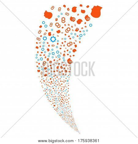 Intellect Gears random fireworks stream. Vector illustration style is flat orange iconic symbols on a white background. Object fountain created from scattered icons.