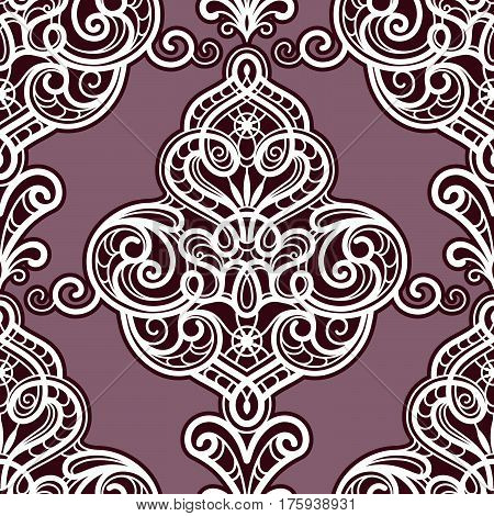 Vintage lace texture, damask ornament, swirly vector seamless pattern
