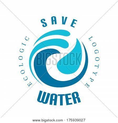 Vector wave icon, decorative curly shape, save water concept, logo design element on white
