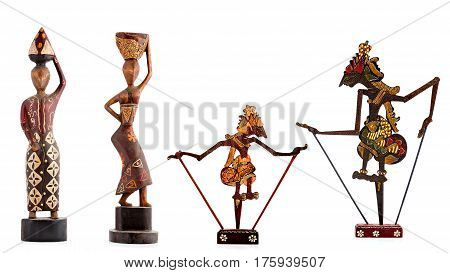 Wooden figurines, decorative figurines, human figurine, Isolated on a white background