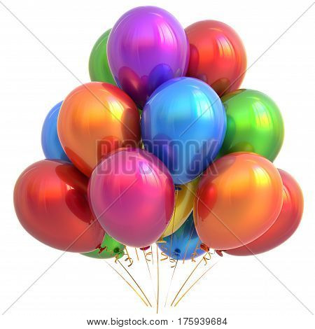 Party balloons happy birthday decoration colorful multicolored. Holiday anniversary celebrate new years eve christmas carnival greeting card design element. 3D illustration isolated on white