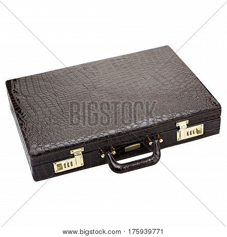Leather case black on isolated white background