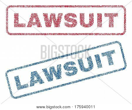 Lawsuit text textile seal stamp watermarks. Blue red fabric vectorized texture. Vector caption inside rounded rectangular banner. Rubber emblem with fiber textile structure.