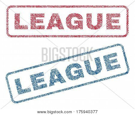 League text textile seal stamp watermarks. Blue red fabric vectorized texture. Vector tag inside rounded rectangular shape. Rubber emblem with fiber textile structure.