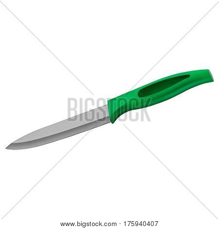 Knife with rubber grip on isolated white background