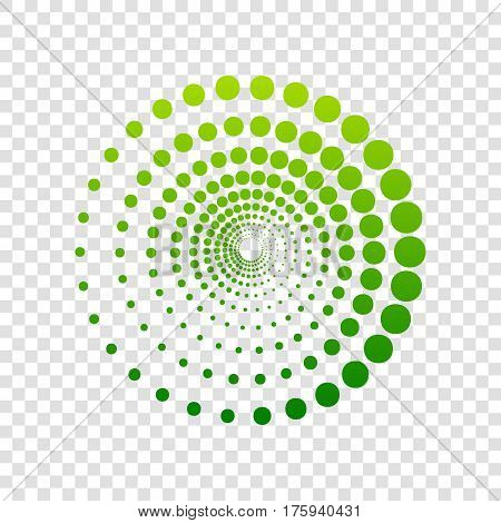 Abstract technology circles sign. Vector. Green gradient icon on transparent background.