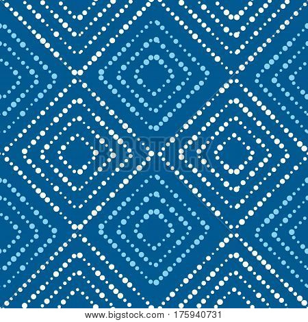 Blue and white asian style concept seamless pattern. modern simple dots repeatable motif inspired by japanese batik fabric culture. vector illustration