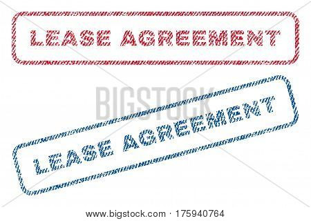 Lease Agreement text textile seal stamp watermarks. Blue red fabric vectorized texture. Vector caption inside rounded rectangular banner. Rubber sign with fiber textile structure.