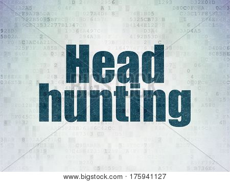 Finance concept: Painted blue word Head Hunting on Digital Data Paper background