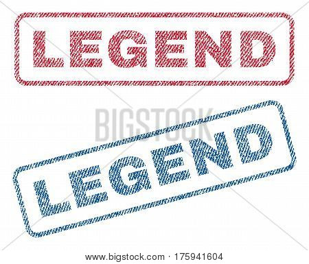 Legend text textile seal stamp watermarks. Blue red fabric vectorized texture. Vector tag inside rounded rectangular banner. Rubber sticker with fiber textile structure.