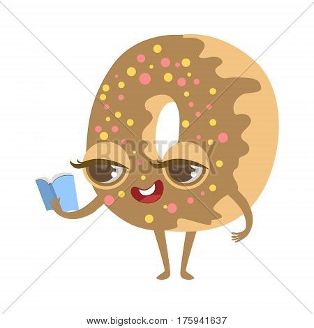 Chocolate Doughnut Reading Book Cute Anime Humanized Cartoon Food Character Emoji Vector Illustration. Funny Product With Arms And Legs Childish Design Isolated Icon.