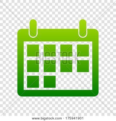 Calendar Sign Illustration. Vector. Green Gradient Icon On Transparent Background.