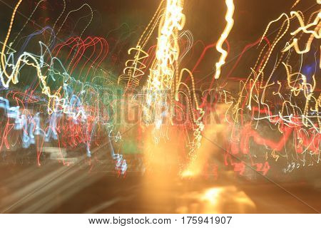 Light Motion With Slow Speed Shutter,street Lights In Speeding Car In Night Time.