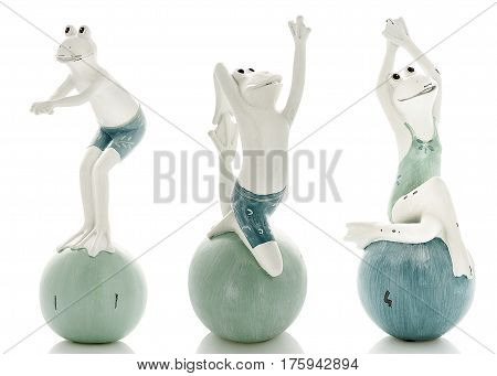 Decorative figurines, statuette of frog, accessories interior on a white background