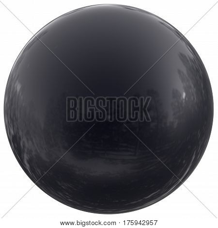 Sphere round button black ball basic circle geometric shape solid figure simple minimalistic atom element single drop shiny glossy sparkling object blank balloon icon. 3d render illustration isolated