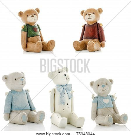 Decorative figurines, statuette of bear, accessories for an interior, isolated white background