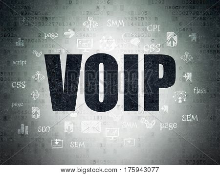 Web development concept: Painted black text VOIP on Digital Data Paper background with  Hand Drawn Site Development Icons