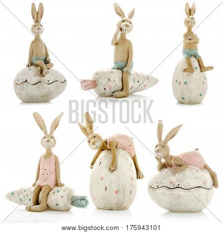 Decorative figurines, statuette of a hare, accessories for an interior, isolated white background