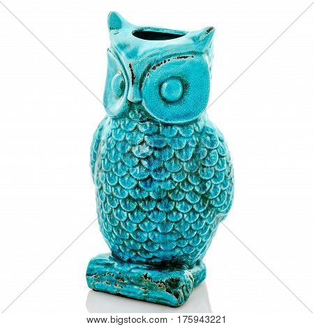 Ceramic owl statuette, blue owl, isolated white background