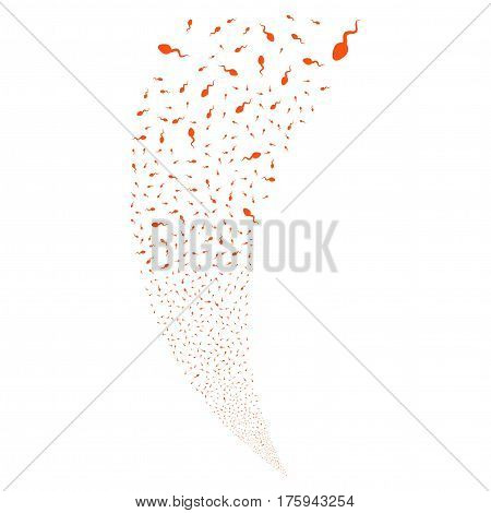 Spermatozoon random fireworks stream. Vector illustration style is flat orange iconic symbols on a white background. Object fountain organized from scattered design elements.