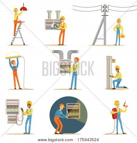 Electrician In Uniform And Hard Hat Working With Electric Cables And Wires, Fixing Electricity Problems Indoors And Outdoors Set Of Illustrations. Smiling Cartoon Character Electric Company Worker Working With High Voltage.