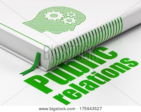 Marketing concept: closed book with Green Head With Gears icon and text Public Relations on floor, white background, 3D rendering