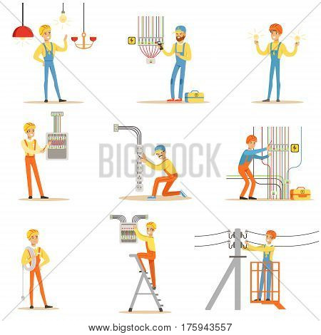 Electrician In Uniform And Hard Hat Working With Electric Cables And Wires, Fixing Electricity Problems Indoors And Outdoors Collection Of Illustrations. Smiling Cartoon Character Electric Company Worker Working With High Voltage.