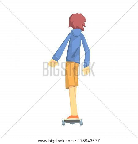 Guy Riding A Skateoard, Part Of Teenagers Practicing Extreme Sports For Recreation Set Of Cartoon Characters. Stylized Geometric Illustration With Young Man Doing Extremal Sport For Hobby.